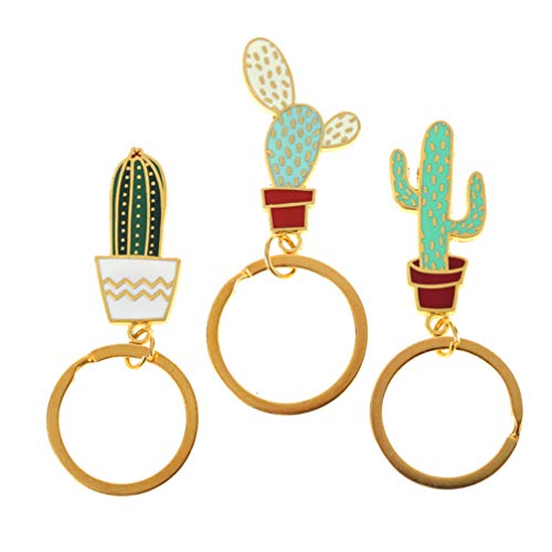 PRETYZOOM Kaktus Schlüsselanhänger Pflanze Saftige Schlüsselringe Hängen Schlüsselbund Anhänger Geschenke für Handtasche Geldbörse Rucksack Dekorationen 3Pcs