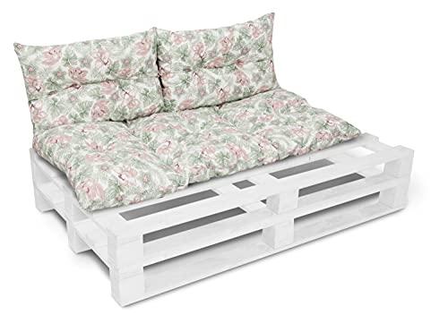Cojín para banco de jardín, cojín para silla, cojín de respaldo, cojín de asiento para banco de jardín europeo, 60 x 120 cm + 2 x 40 x 60 cm 08