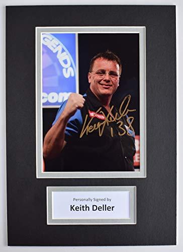 Keith Deller Signed Autograph A4 photo mount display Darts Sport AFTAL COA