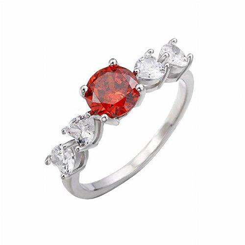 Thumby Zirkoon Ring voor Vriendin Ornamenten Temperament Armband, Granaat, 19
