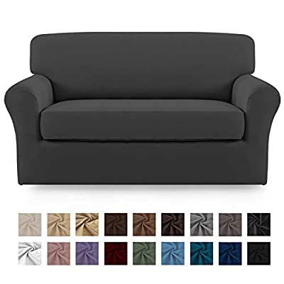Easy-Going 2 Pieces Microfiber Stretch Sofa Slipcover – Spandex Soft Fitted Sofa Couch Cover, Washable Furniture Protector with Elastic Bottom Kids,Pet ?Loveseat?Gray?