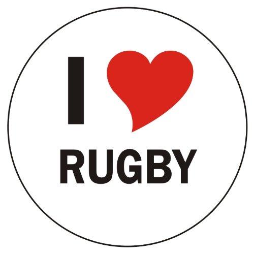 PEMA Aufkleber/Sticker/Autoaufkleber - I Love Rugby Aufkleber - 8 cm Durchmesser rund - JDM/Die Cut/OEM - Auto/Heckscheibe - aussenklebend