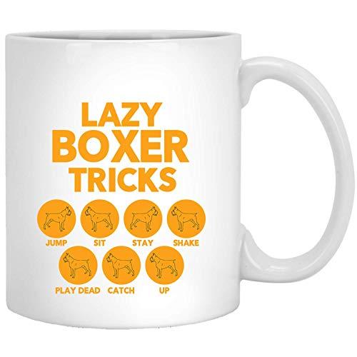 Lazy Boxer Tricks Grappige geschenken voor honden eigenaar hond Mama Papa White Mug