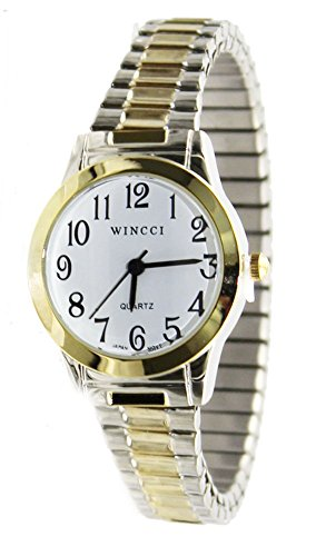 Women Classic Stretch Band Easy to Read Watch(Doesn't Fit Small Wrist)… (Two Tone)