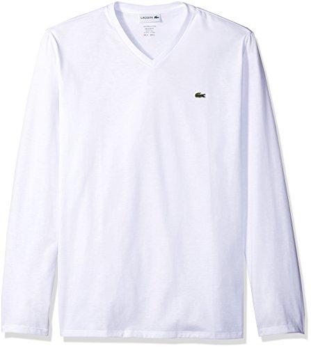 Lacoste Men's Long Sleeve Jersey Pima V-Neck T-Shirt, White, L