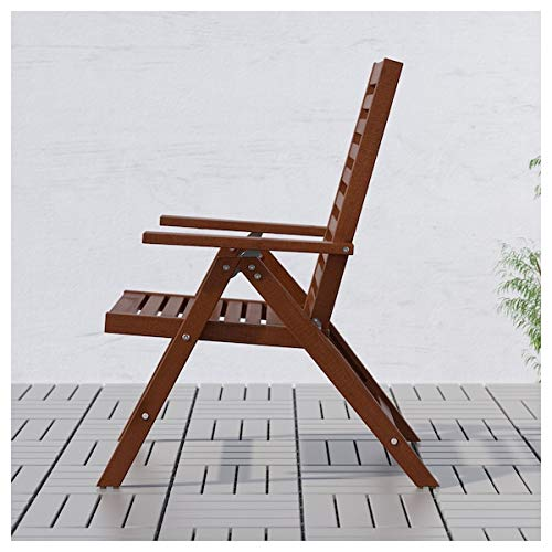 ÄPPLARÖ Krzesło do leżenia na zewnątrz, składane brązowe barwione, 63 x 80 x 101 cm trwałe i łatwe w pielęgnacji. Krzesła do jadalni, meble ogrodowe, produkty na zewnątrz, przyjazne dla środowiska.