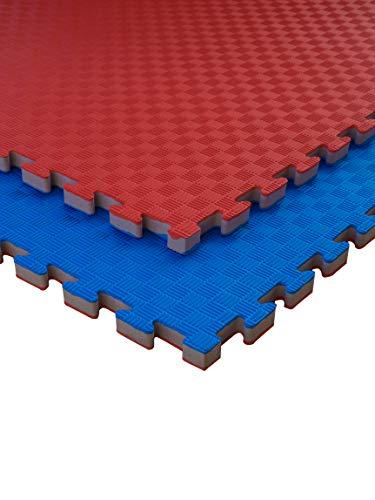 JOWY Lote 4 Unidades Estructura Tatami Puzzle con más Densidad para Gimnasio Artes Marciales Judo | Suelo Tatami Profesional 25mm Color Rojo y Azul Reversible