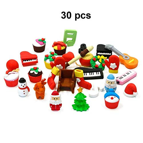 LW Funny Toys 30 PCS Christmas Puzzle Pencil Erasrs for Kids Christmas Party Favors Supplies Xmas Gift