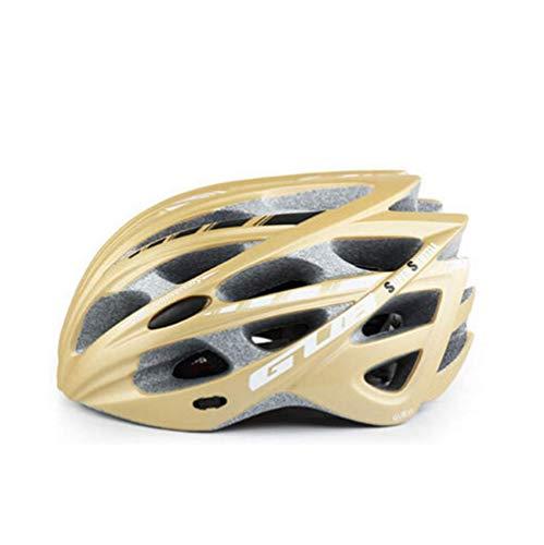 1-1 Erwachsener Fahrrad Helme,Einstellbar Anti-Sturz ABS Sports Schutzausrüstung Für Mountainbike Rollerblading Roller,Gold,M