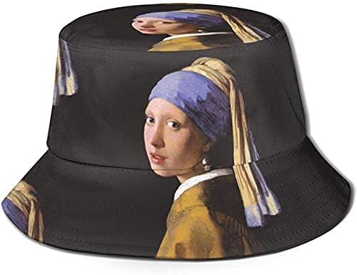 Forever Long Chica con un pendiente de perla cubo sombrero, unisex sombrero de sol impreso pescador plegable sombrero de viaje moda al aire libre, sombrero de cubo sombrero de pescador