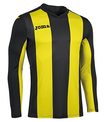 Joma Pisa Camiseta de Juego Manga Corta, Hombre, Negro/Amarillo, M