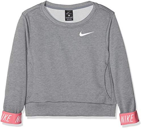 Nike G Nk Dry Po Studio Felpa, Bambina, Grigio (Carbon Heather/Pink Nebula/White 091), 140 (Taglia Produttore:M)