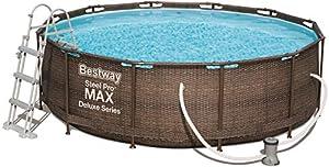 immagine di Bestway 56709Steel Promax Deluxe Series Piscina ø366X 100cm, Telaio in acciaio, set con pompa filtro e accessori, Marrone