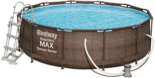 Bestway Power Steel Deluxe round pool with sturdy steel frame, a complete set, rattan look, 366 cm x 100 cm