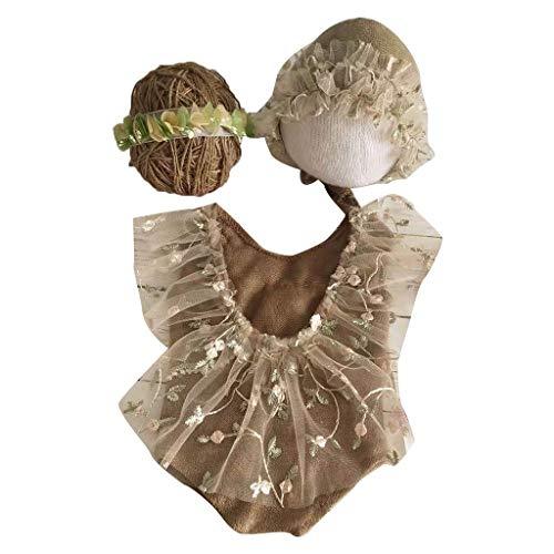 TCM-KE Juego de 4 piezas de accesorios para fotografía recién nacido, traje de encaje, gorro y diadema, suave y cómodo de llevar, agradable a la piel, flexible y elástico, no daña al bebé.
