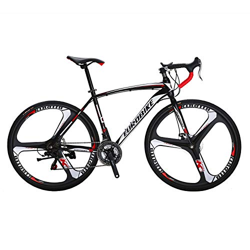 Eurobike Road Bike EURXC550 21 Speed 49 cm Frame 700C K Wheels Road Bicycle Dual Disc Brake Bicycle Black...