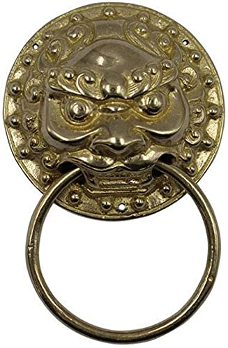 JJDSN Door Knocker Antique Design Lion's Head Door Knockers,Classic Vintage Oriental Beast Sculpture Gate Handle/Pull Ring Golden Size:9cm