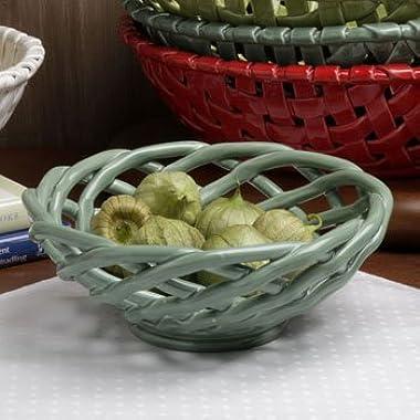 Casafina Turquoise Medium Round Ceramic Bread Basket