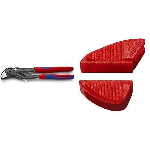 KNIPEX 86 02 250 Zangenschlüssel Zange und Schraubenschlüssel in einem Werkzeug grau atramentiert mit Mehrkomponenten-Hüllen 250 mm & 86 09 250 V01 Schonbacken für 86 XX 250