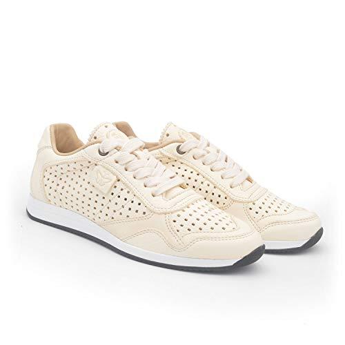 MARTIN NATUR Vectra Weiss 37 - Bequemer Damen-Sneaker - Ökologisches Leder ohne Chrom - Damenschuhe für Einlagen - Perforiertes Muster - Nachhaltige Mode - Eco-Friendly