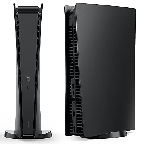 Benazcap PS5 Bildbausteine Hülle Cover Schwarz Ersatzplatte für Digital Edition Playstation 5, Hartes Stoßfeste Seitenplatten Shell Case Skin für PS5 Digital Edition Console - Matt Schwarz