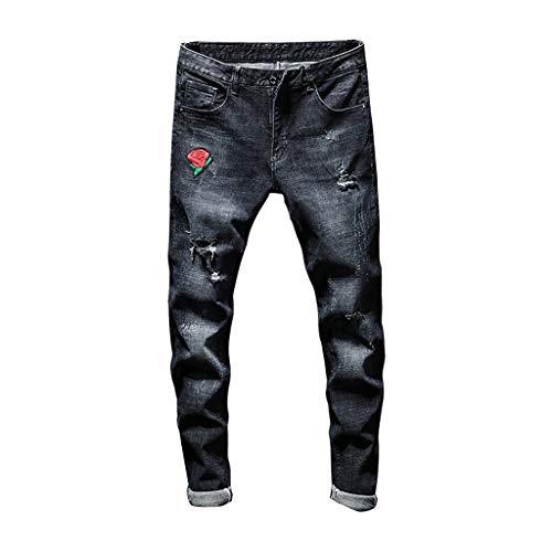 LijunMimo Jeans Herrenhosen Slim Jeans Rose Print Große Nähte Tasche Reißverschluss Stretch Denim Hosen Freizeithosen Herrenhosen Arbeitskleidung Jogginghose (Schwarz, XXL)