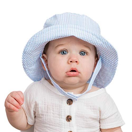 Huggalugs Baby & Toddler Boys Blue Seersucker Bucket Sun Hat UPF 25+ 6-12