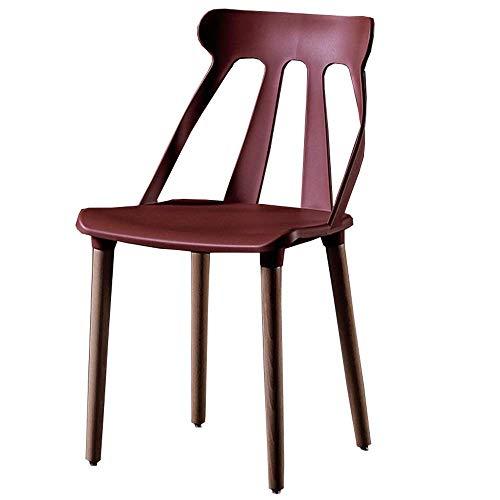 YLLN Moderne Esszimmerstühle Ergonomische Rückenlehne Esszimmerstühle aus Kunststoff für die Büro-Lounge Bürostühle aus natürlichem Massivholz 43x43x86cm (Farbe: Rot)