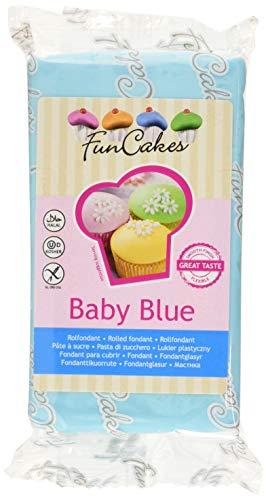 FunCakes Fondant para Cubrir Tartas, Cupcakes, Galletas, Modelar color Azul Bebé: Sabor Vainilla, Flexible, para Repostería Casera y Profesional, Sin Gluten, Halal, Kosher D, Véganos, FC97950