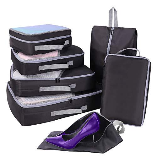 Packing Cubes Set 7-teilig, Faxsthy Packtaschen Kofferorganizer Kleidertaschen Packwürfel für Kleidung Unterwäsche Kosmetik, Wasserdicht, Ideal für Reise Geschäftsreisen Urlaube und Wohnmobile