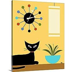 GREATBIGCANVAS Mid Century Ball Clock 3 Canvas Wall Art Print, Cat Home Decor Artwork, 19x24x1.5