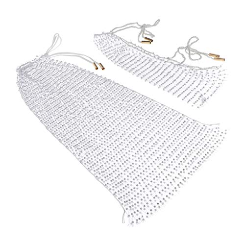 Sharplace Damen Fishnet Bikini Top Strandkleid Netzkleid Glitzer Strass Sommerkleid Diamant Netz Bikini Cover Up Kleid für Sommer Strand Urlaub - Weiß, Onesize