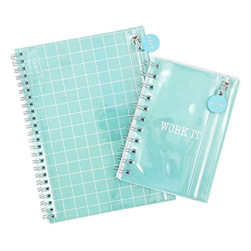 Yoobi | Diario con bolsillo frontal y mini cuaderno | 60 hojas de rayas universitarias | Work It | Menta