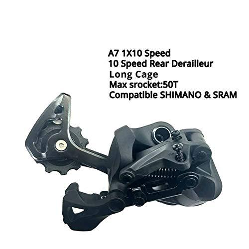 Lijincheng Transmisión de Bicicleta A7 1X10 10 Velocidad De Disparo Derailleurs Groupset 10s 10v Shifter Palanca De Cambio Trasero Conmuta (Color : Long Cage RD)