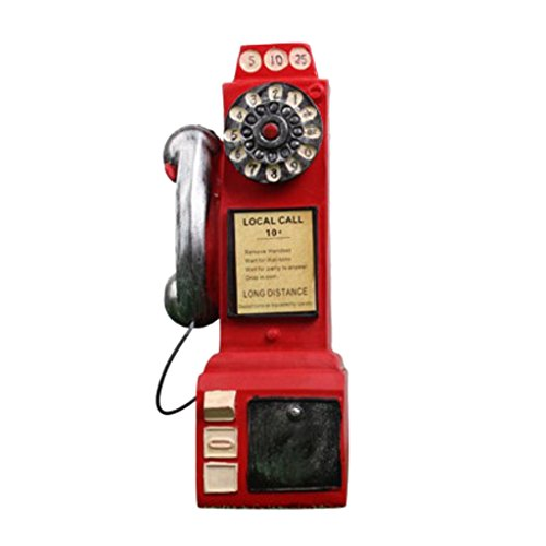 non-brand Vintage Teléfono Modelo Estatuilla Alcancía de Resina Objetos de Decoración de Pub Bar Cafe - Rojo