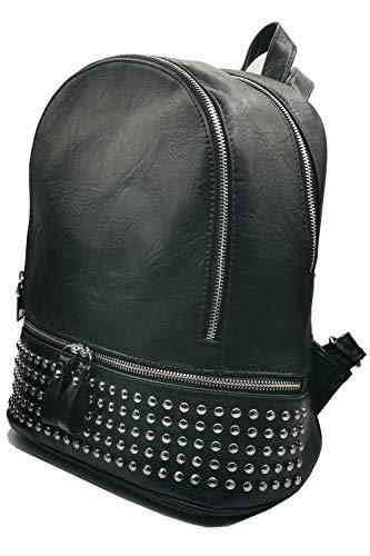 Zaino da donna in pelle nero con borchie, zainetto elegante borchiato, fashion e alla moda, design classico e di tendenza