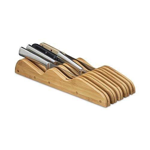 Relaxdays Messerblock aus Bambus, 9 Messer, für die Schublade, ohne Messer, HBT: ca. 6 x 14 x 40 cm, natur
