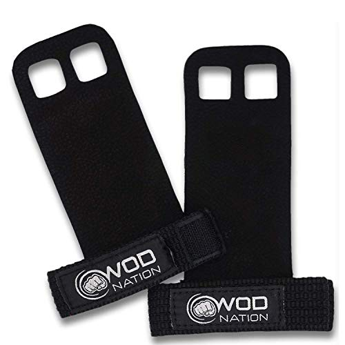 WOD Nation Leather Barbell Gymnastics Grips Perfect for Pull-up Training, Kettlebells, Gymnastic Rings (Black - Small)