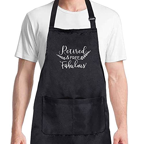 Retirement Gifts for Women Retired Free and Fabulous Apron Fun Happy Retirement Gifts Humorous Retired Gifts for Coworkers, Sisters Colleague Mom Grandmother Boss Friends Teachers Nurses Retiree
