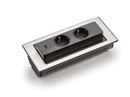 Einbausteckdose BACKFLIP 215x88mm ausklappbar 2 Steckdosen 1 USB-Charger *549177