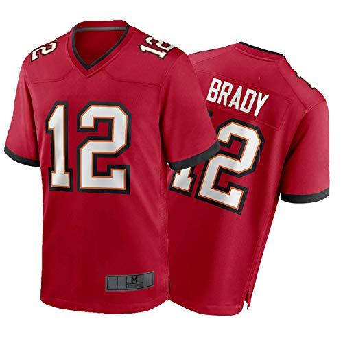 Brady Men Shirt # 12 American Football Trikots, Herren Rugby Jersey Student Training Wear Sports Kurzärmelig Indoor und Outdoor red-S