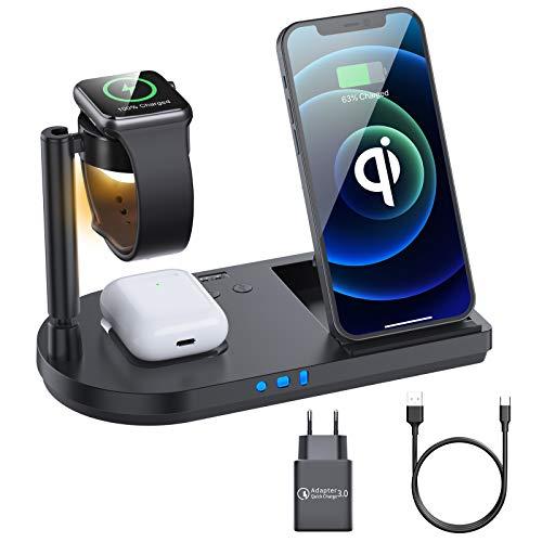 Wireless Charger, 15W Schnelles Kabelloses Ladegerät, 4 in 1 Qi-Zertifiziert Induktive ladestation für Apple Watch, iPhone 12/SE/11/X/XR/Xs Max/8, Airpods Pro/2, Samsung Buds/S21/S20/S10(Schwarz)