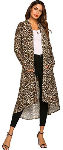POGTMM Women's Long Open Front Drape Lightweight Duster High Low Hem Maxi Long Sleeve Cardigan(S-3XL) (US XXL(20-22), Z Leopard)