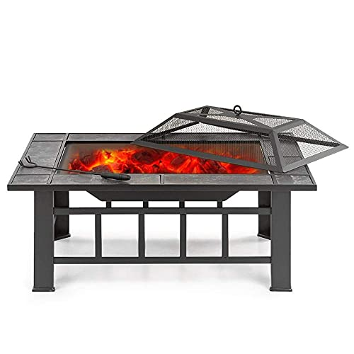 H-BEI Fogata al Aire Libre Fogata, Estufa de Fuego con Cubierta de Pantalla de Chispa para Exterior Exterior Camping Patio Jardín Patio Trasero Negro