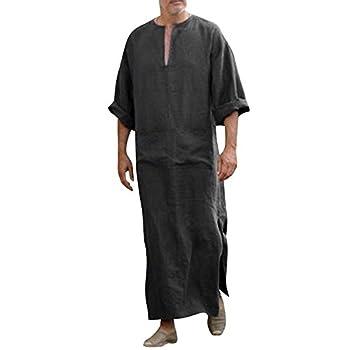 WUAI Mens Casual Linen Robe Hooded Long Sleeve Vintage Kaftan Robe Dress Long Gown Black,Medium