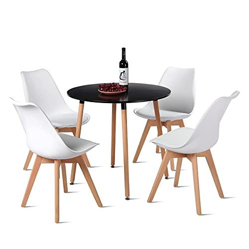 H.J WeDoo Essgruppe Esszimmertisch Esstisch Set 1 MDF Schwarz + 4 Modern Weiß Esszimmerstühle, für Küche Esszimmer Konferenzzimmer