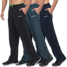 CENFOR Men's Sweatpant with Pockets Open Bottom Athletic Pants,3 Piece, Jogging, Workout, Gym, Running, Hiking, Training, Set(Black,Gray,Navy Blue,XL)