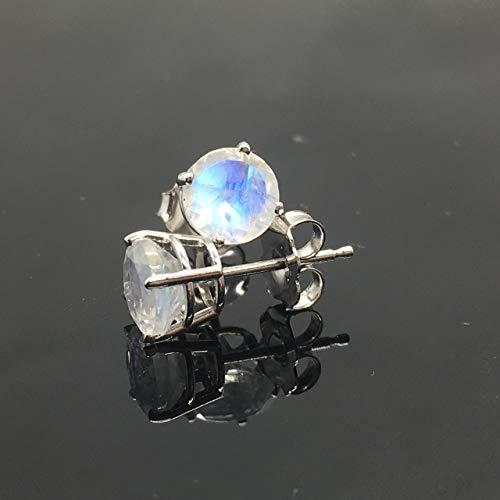 14K White Gold Genuine Rainbow Moonstone Stud Earrings - 14K Solid Gold Moonstone Studs - 6mm Moonstone Crystal Earrings - Diamond Alternative Studs