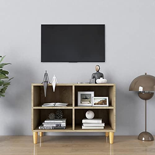 Gawany Mueble de TV con 4 Compartimentos Mesa de Salón Moderno Armario Salón Mueble Auxiliar Dormitorio Patas Madera Maciza Roble Sonoma 69,5x30x50 cm