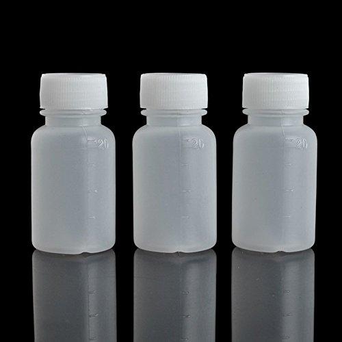Dealglad 100 unidades de plástico de 20 ml de PE vacío de boca pequeña graduada de laboratorio químico envase reactivo botella de sellado líquido medicina botella